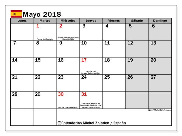 Calendario mayo 2018, con los días festivos de España. Calendario mensual para imprimir gratis.