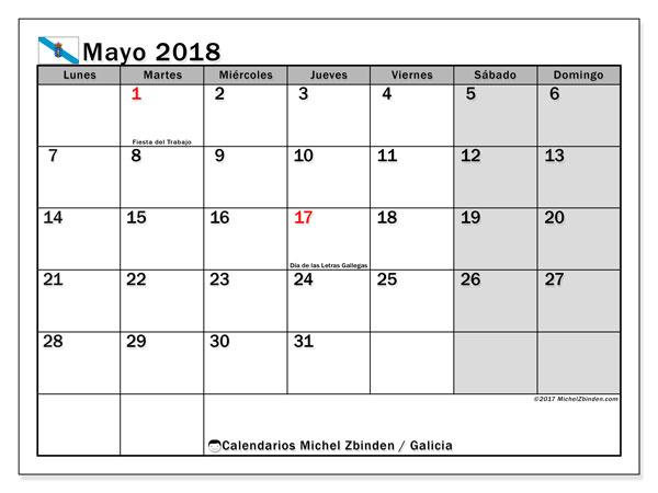 Calendario mayo 2018, con los días festivos en Galicia. Calendario para el mes para imprimir gratis.