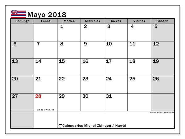 Calendario mayo 2018, con los días feriados en Hawái. Calendario imprimible gratis.
