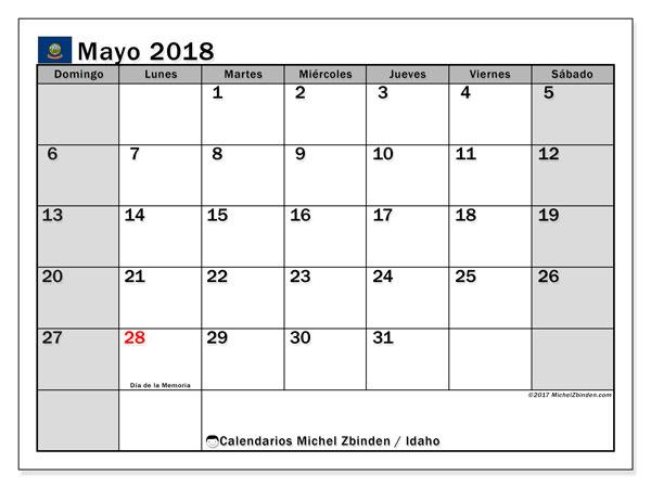 Calendario mayo 2018, con los días feriados de Idaho. Calendario imprimible gratis.