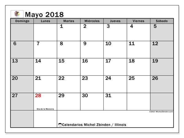 Calendario mayo 2018, con los días feriados en Illinois. Calendario mensual para imprimir gratis.