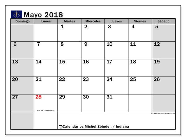 Calendario mayo 2018, con los días feriados de Indiana. Planificación para imprimir gratis.