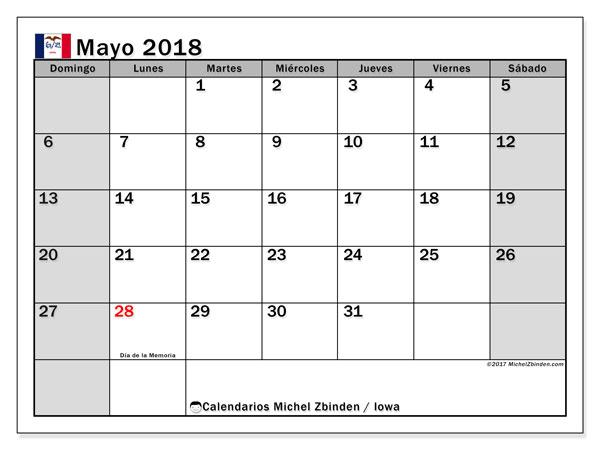 Calendario mayo 2018, con los días feriados en Iowa. Calendario para imprimir gratis.