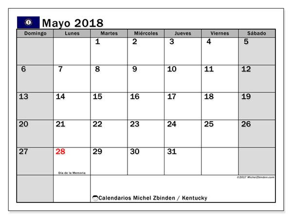 Calendario mayo 2018, con los días feriados en Kentucky. Calendario imprimible gratis.