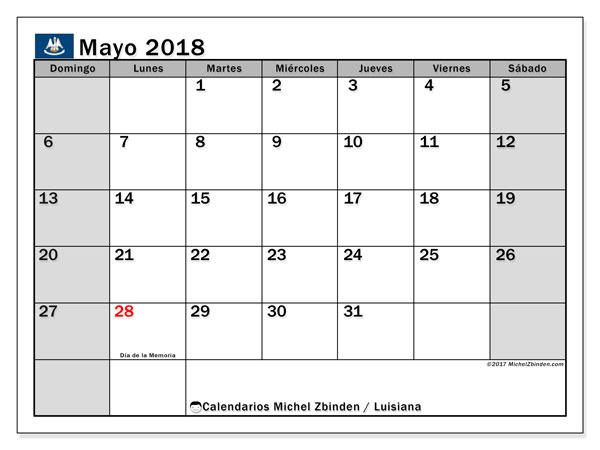 Calendario mayo 2018, con los días feriados en Luisiana. Calendario imprimible gratis.