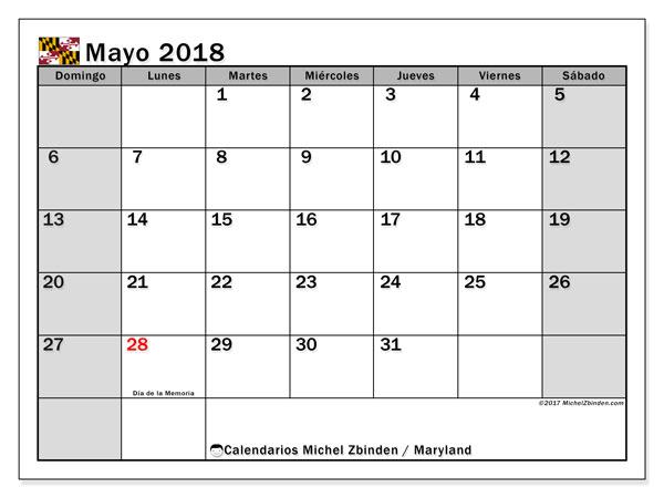 Calendario mayo 2018, con los días feriados en Maryland. Calendario para el mes para imprimir gratis.