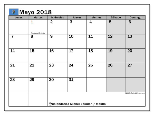 Calendario mayo 2018, con los días festivos de Melilla. Calendario imprimible gratis.
