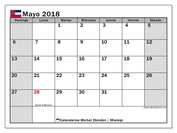 Calendario mayo 2018, con los días feriados de Misisipi. Calendario para imprimir gratis.