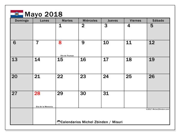 Calendario mayo 2018, con los días feriados de Misuri. Calendario para el mes para imprimir gratis.