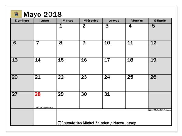 Calendario mayo 2018, con los días feriados de Nueva Jersey. Calendario para imprimir gratis.