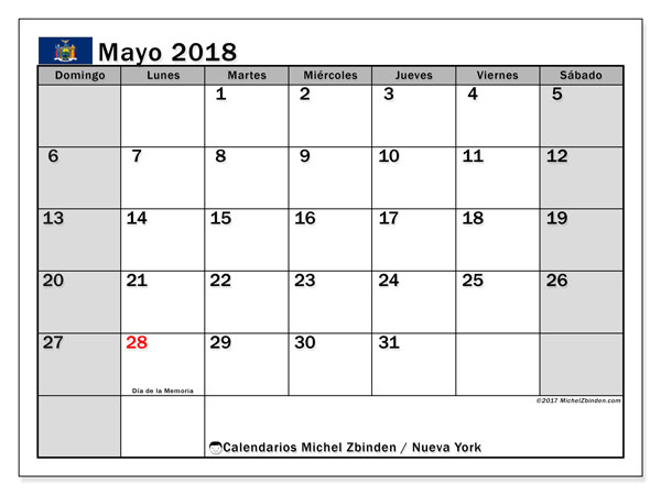 Calendario mayo 2018, con los días feriados de Nueva York. Calendario imprimible gratis.