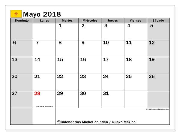 Calendario mayo 2018, con los días feriados en Nuevo México. Calendario imprimible gratis.