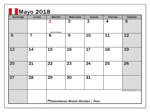 Calendario mayo 2018, con los días feriados para Perú. Calendario mensual para imprimir gratis.