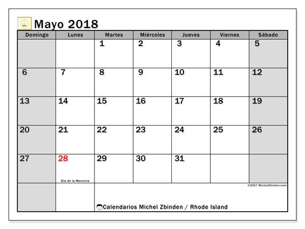 Calendario mayo 2018, con los días feriados en Rhode Island. Calendario para imprimir gratis.