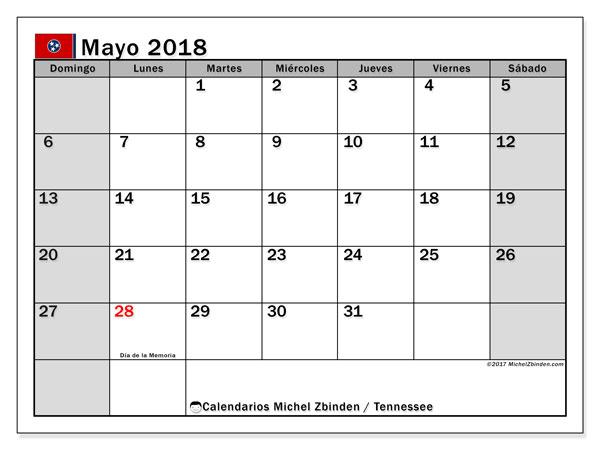 Calendario mayo 2018, con los días feriados en Tennessee. Calendario mensual para imprimir gratis.