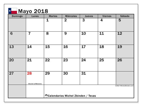 Calendario mayo 2018, con los días feriados en Texas. Almanaque para imprimir gratis.