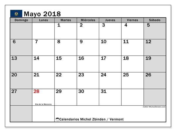 Calendario mayo 2018, con los días feriados en Vermont. Calendario imprimible gratis.