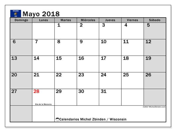 Calendario mayo 2018, con los días feriados en Wisconsin. Almanaque para imprimir gratis.