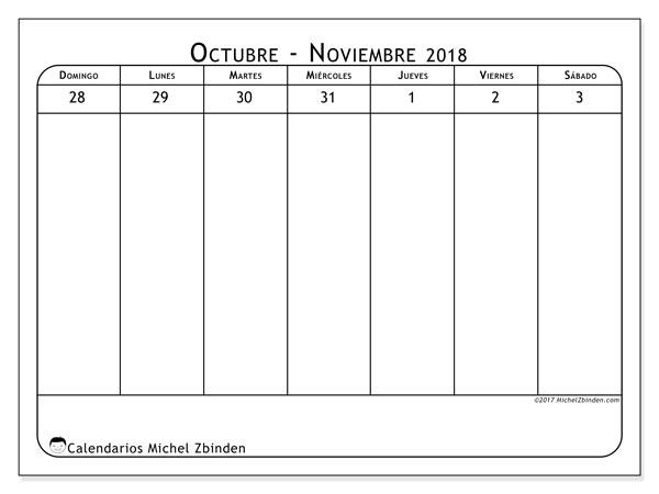 Calendario noviembre 2018 (43-1DS). Calendario semanal para imprimir gratis.