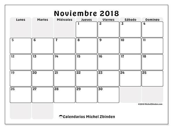 Calendario noviembre 2018 (44LD). Calendario gratuito para imprimir.