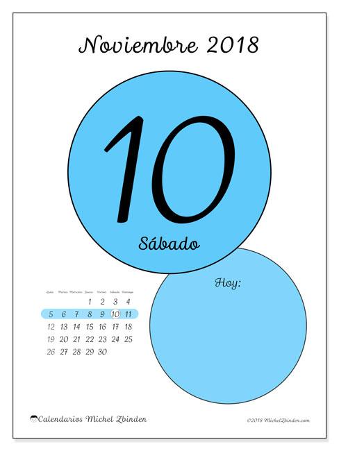Calendario noviembre 2018 (45-10LD). Calendario diario para imprimir gratis.