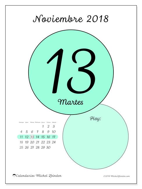 Calendario noviembre 2018 (45-13DS). Calendario para el día para imprimir gratis.