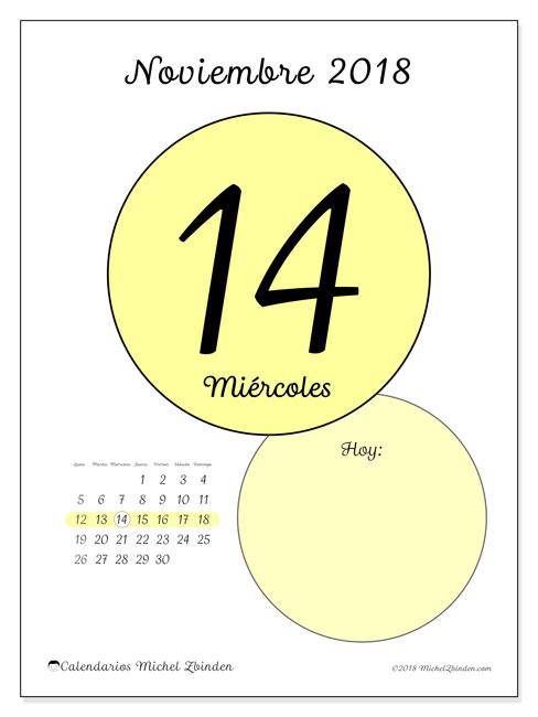 Calendario noviembre 2018 (45-14LD). Calendario para el día para imprimir gratis.