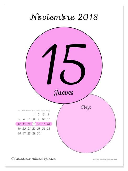 Calendario noviembre 2018 (45-15LD). Calendario diario para imprimir gratis.