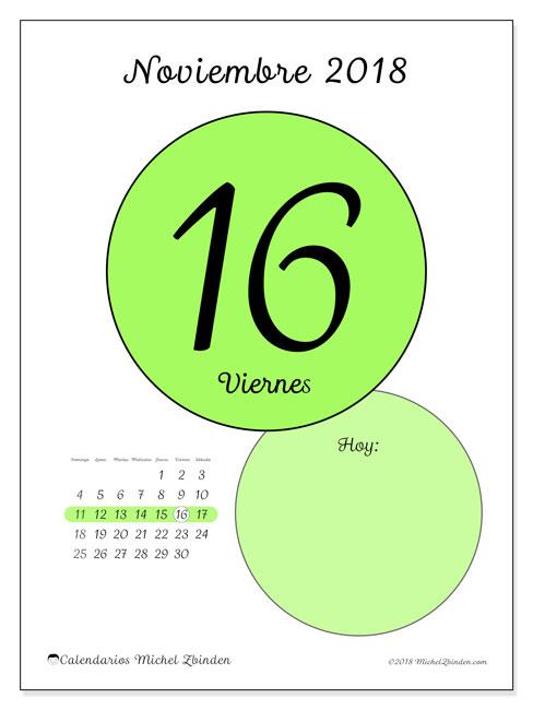 Calendario noviembre 2018 (45-16DS). Calendario diario para imprimir gratis.