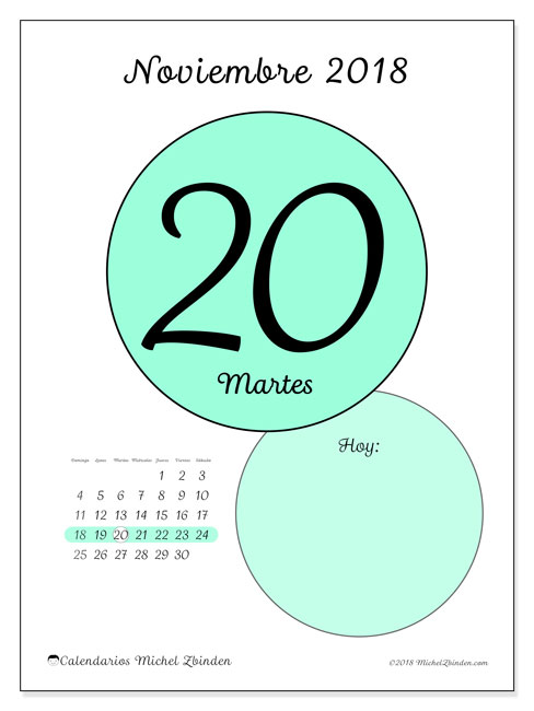 Calendario noviembre 2018 (45-20DS). Calendario diario para imprimir gratis.