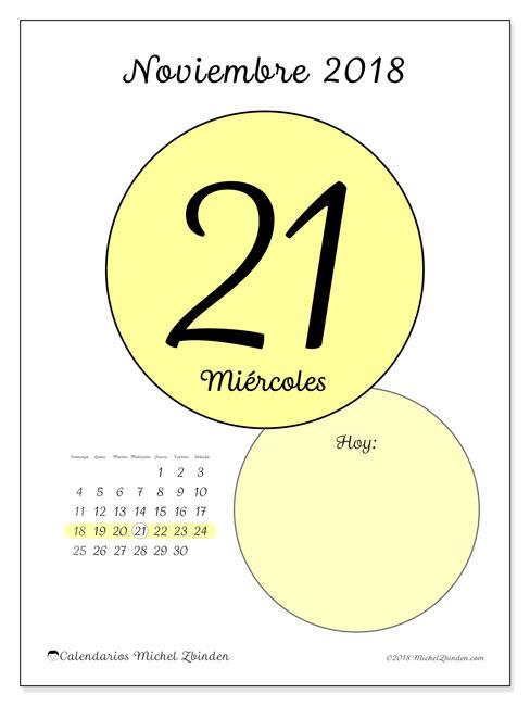 Calendario noviembre 2018 (45-21DS). Calendario diario para imprimir gratis.