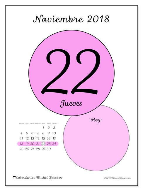 Calendario noviembre 2018 (45-22DS). Calendario para el día para imprimir gratis.