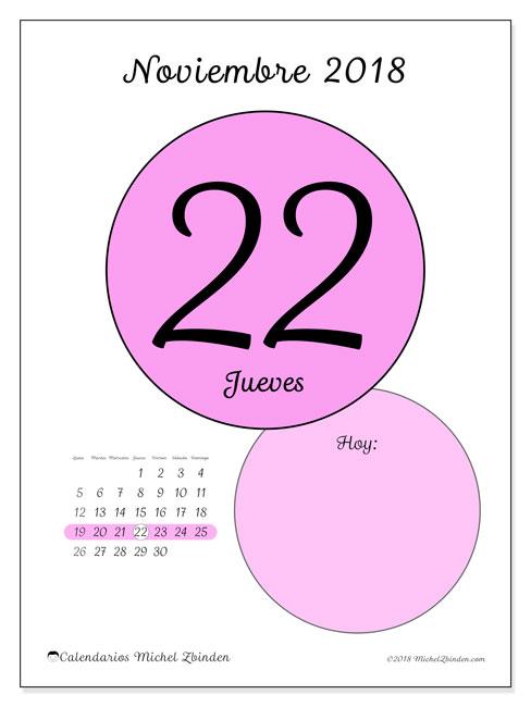 Calendario noviembre 2018 (45-22LD). Calendario diario para imprimir gratis.