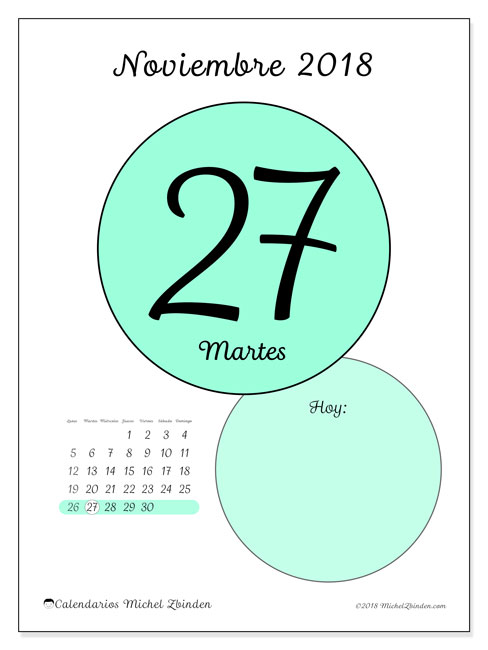 Calendario noviembre 2018 (45-27LD). Calendario diario para imprimir gratis.