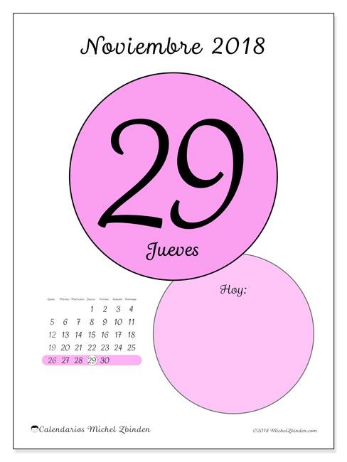 Calendario noviembre 2018 (45-29LD). Calendario diario para imprimir gratis.