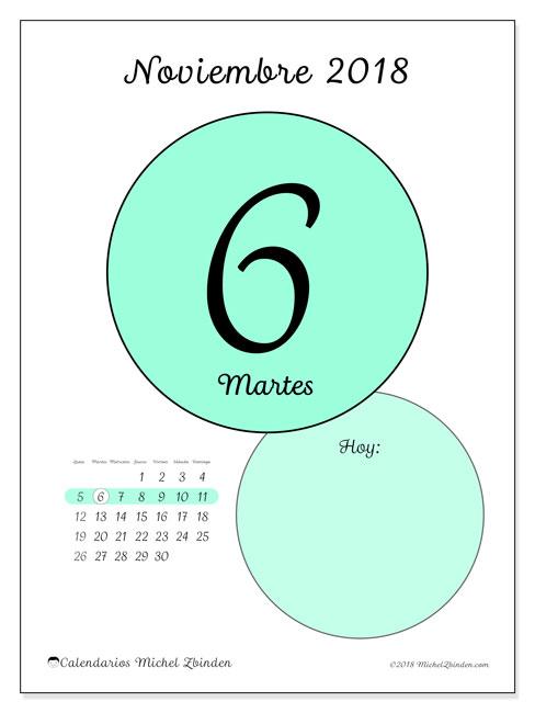 Calendario noviembre 2018 (45-6LD). Calendario diario para imprimir gratis.