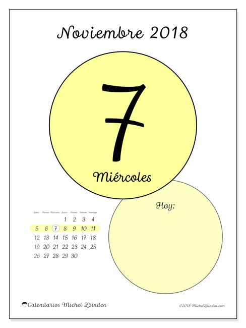 Calendario noviembre 2018 (45-7LD). Calendario diario para imprimir gratis.
