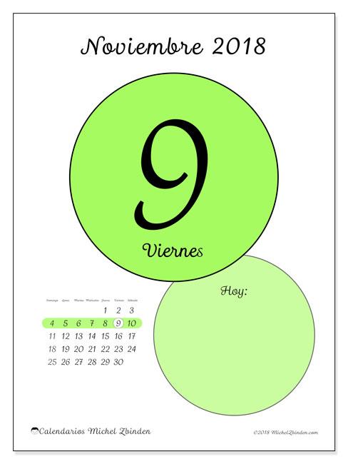 Calendario noviembre 2018 (45-9DS). Calendario para el día para imprimir gratis.