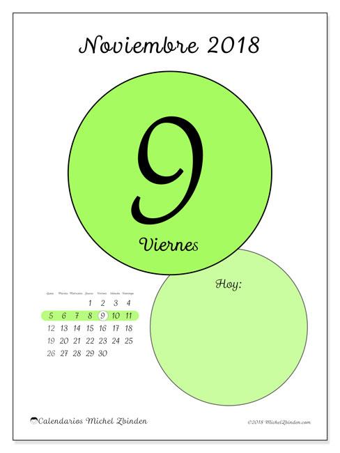 Calendario noviembre 2018 (45-9LD). Calendario diario para imprimir gratis.