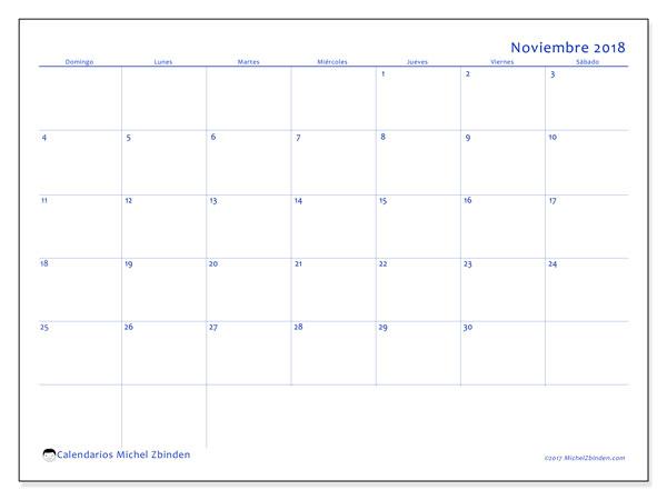Calendario noviembre 2018 (55DS). Calendario mensual para imprimir gratis.