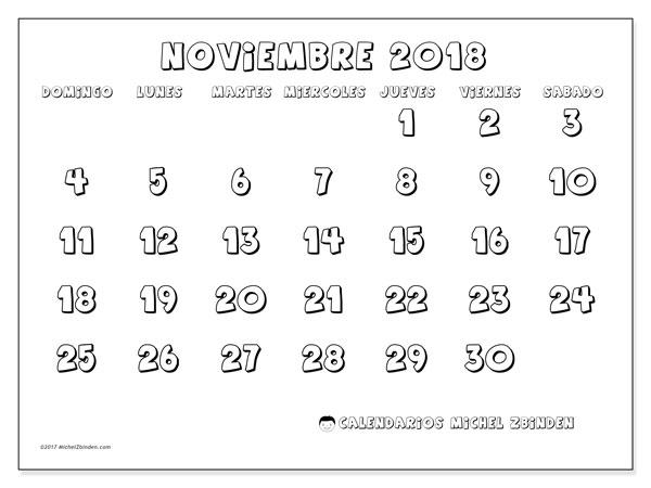 Calendario noviembre 2018 (56DS) - Michel Zbinden (es)