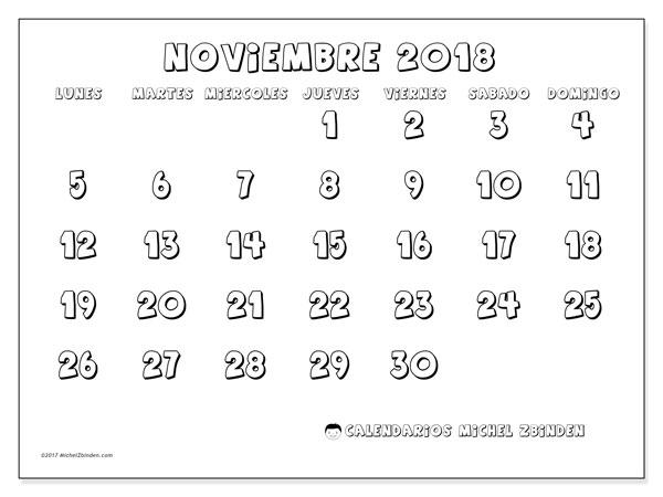 Calendario noviembre 2018 (56LD). Planificación para imprimir gratis.