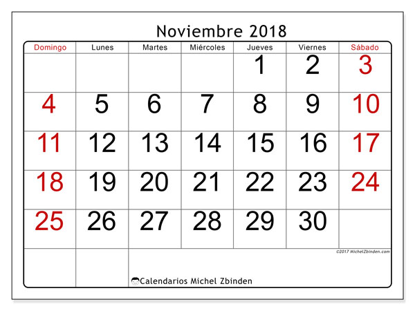 Calendario noviembre 2018 (62DS). Calendario imprimible gratis.