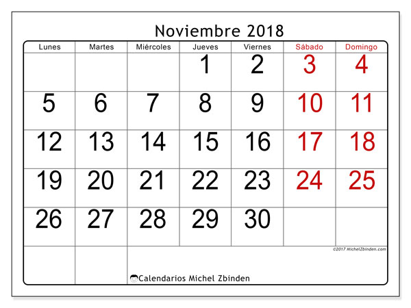 Calendario noviembre 2018 (62LD). Calendario imprimible gratis.