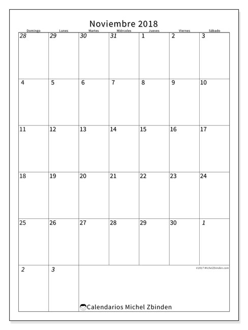 Calendario  noviembre de 2018, 68DS