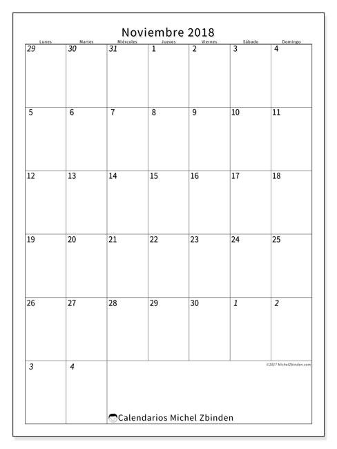 Calendario noviembre 2018 (68LD). Calendario para imprimir gratis.