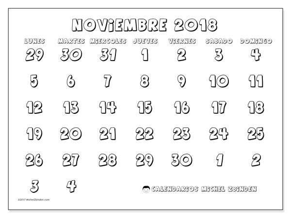 Calendario noviembre 2018 (71LD). Calendario imprimible gratis.