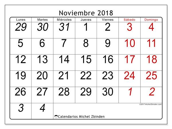 Calendario noviembre 2018 (72LD). Calendario para el mes para imprimir gratis.