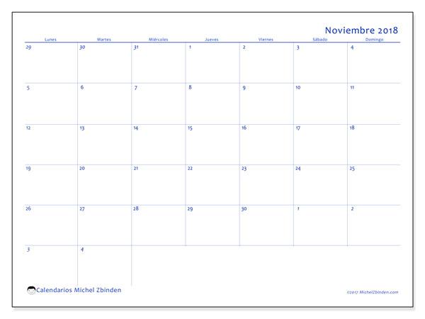 Calendario noviembre 2018 (73LD). Calendario gratuito para imprimir.