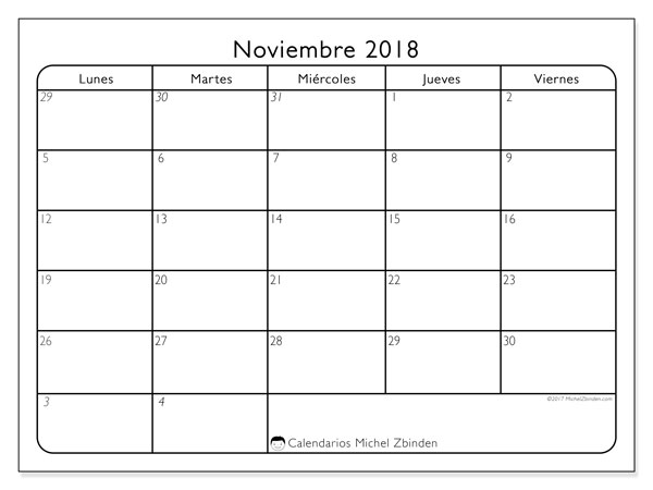 Calendario noviembre 2018 (74LD). Calendario para el mes para imprimir gratis.